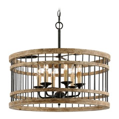 Troy Lighting Vineyard Rusty Iron with Salvaged Wood Pendant Light with Drum Shade