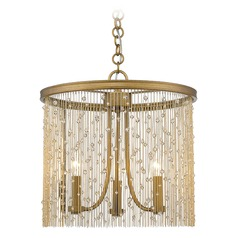 Golden Lighting Marilyn Peruvian Gold Pendant Light with Drum Shade