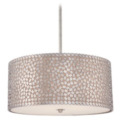 Modern Drum Pendant Light in Old Silver Finish