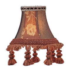 Burgundy Floral Bell Lamp Shade with Clip-On Assembly