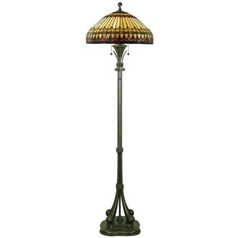 Floor Lamp with Tiffany Glass in Brushed Bullion Finish
