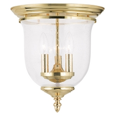 Seeded Glass Flushmount Light Brass Livex Lighting