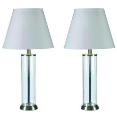 Modern Table Lamp Set with White Shade in Glass Finish with Brushed Steel Finish Accents Finish