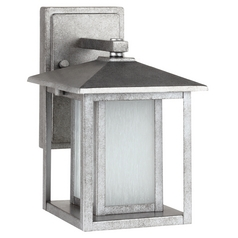Outdoor Wall Light with White Glass in Weathered Pewter Finish