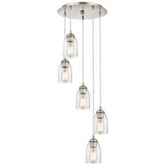 Satin Nickel Multi-Light Pendant with Clear Dome Glass and 5-Lights