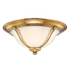 Flushmount Light with White Glass in Flemish Brass Finish