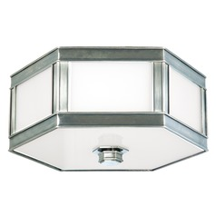 Flushmount Light with White Glass in Historic Nickel Finish