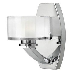 Sconce with White Glass in Chrome Finish