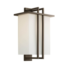 Progress Modern Outdoor Wall Light with White Glass in Bronze Finish