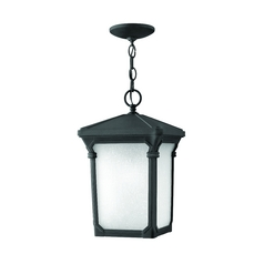 LED Outdoor Hanging Light with White Glass in Museum Black Finish