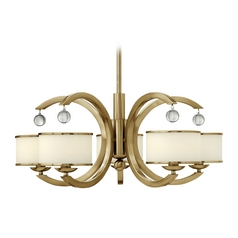 Chandelier with White Glass in Brushed Caramel Finish