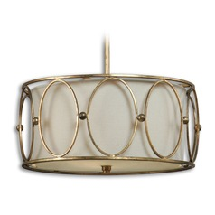 Uttermost Ovala 3 Light Gold Drum Pendant