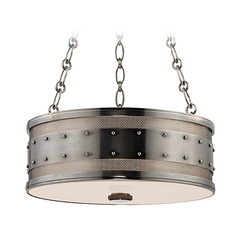 Hudson Valley Lighting Gaines Historic Nickel Pendant Light with Drum Shade