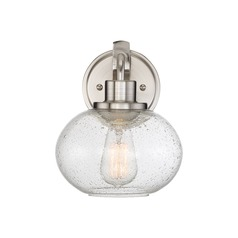 Seeded Glass LED Sconce Brushed Nickel Quoizel Lighting