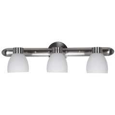 Modern Bathroom Light with White Glass in Brushed Steel Finish