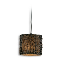 Mini-Pendant Light with Brown Wicker Shade