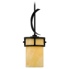 Bronze Mini-Pendant Light with Onyx Stone Shade and Curved Band