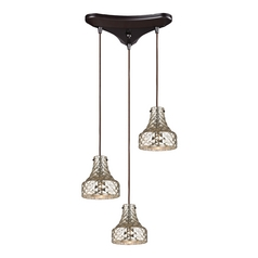 Multi-Light Pendant Light with Mercury Glass and 3-Lights