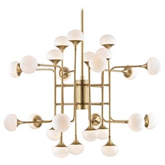 Mid-Century Modern LED Chandelier Brass Fleming by Hudson Valley Lighting