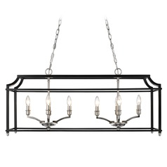 Leighton PW Linear Pendant in Pewter with Black