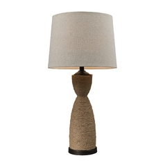 Table Lamp with Natural Rope Base and Barrel Lamp Shade