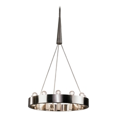 Industrial Chandelier 12-Light Brushed Nickel by Robert Abbey