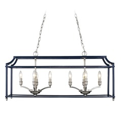 Leighton PW Linear Pendant in Pewter with Navy