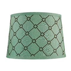 Green / Brown Patterned Drum Lamp Shade with Spider Assembly