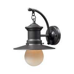 Outdoor Wall Light with Amber Glass in Graphite Finish