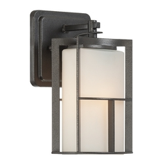 Modern Outdoor Wall Light with White Glass in Charcoal Finish