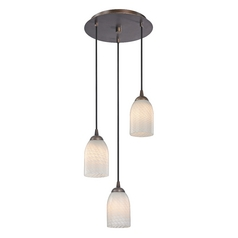 Design Classics Lighting Modern Multi-Light Pendant Light with White Glass and 3-Lights 583-220 GL1020D