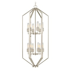 Hexagon 12-Light Chandelier - Satin Nickel Finish