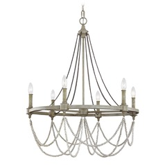 Feiss Lighting Beverly Oak / White Wood Chandelier