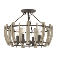 Farmhouse Semi-Flushmount Light Black Wood Hollow by Quoizel Lighting