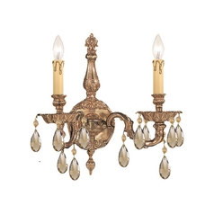 Crystal Sconce Wall Light in Olde Brass Finish