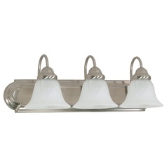 Nuvo Lighting Bathroom Light with Alabaster Glass in Brushed Nickel Finish 60-321