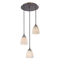 Modern Multi-Light Pendant Light with White Glass and 3-Lights