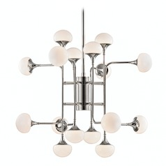 Mid-Century Modern LED Chandelier Polished Nickel Fleming by Hudson Valley Lighting