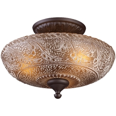 Semi-Flushmount Light with Amber Glass in Oiled Bronze Finish