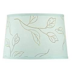 Mint Green / Brown Leaf Drum Lamp Shade with Spider Assembly