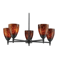 Chandelier with Art Glass in Dark Rust Finish
