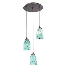 Design Classics Lighting Modern Multi-Light Pendant Light with Blue Glass and 3-Lights 583-220 GL1021D