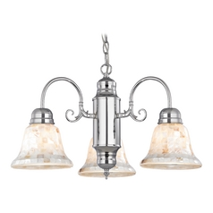 Design Classics Lighting Mini-Chandelier with Mosaic Glass in Chrome Finish 708-26 GL1032-M