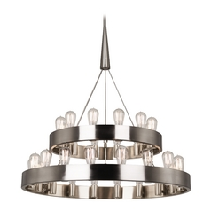 Industrial Chandelier 2-Tier 30-Light Brushed Nickel by Robert Abbey