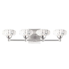 Modern Brushed Nickel LED Bathroom Light with Clear Shade 3000K 2000LM