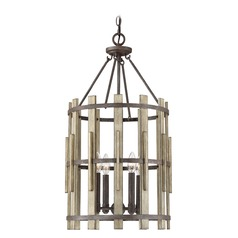 Farmhouse Pendant Light Black Wood Hollow by Quoizel Lighting