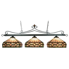 Modern Billiard Light with Multi-Color Glass in Tiffany Bronze Finish
