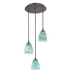 Design Classics Lighting Modern Multi-Light Pendant Light with Blue Glass and 3-Lights 583-220 GL1021MB