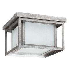 Close To Ceiling Light with White Glass in Weathered Pewter Finish