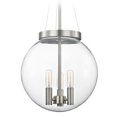 Mid-Century Modern Pendant Light Clear Globe Satin Nickel 12-Inch